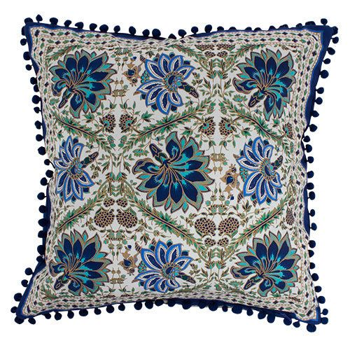 Blue Floral Cushion with Pom Pom Trim - Poppy's Home & Garden