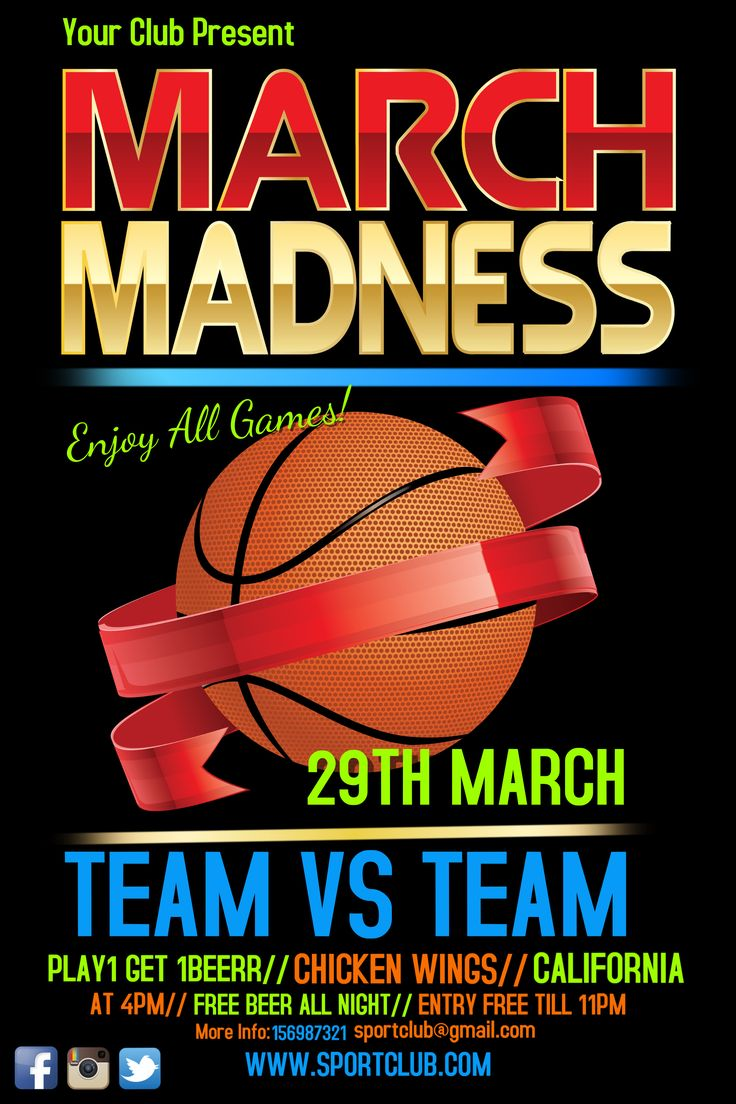 March madness flyer design. Click to customize.