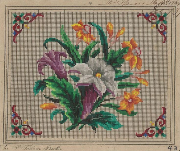 A Floral Berlin WoolWork Pattern Produced By F Trube