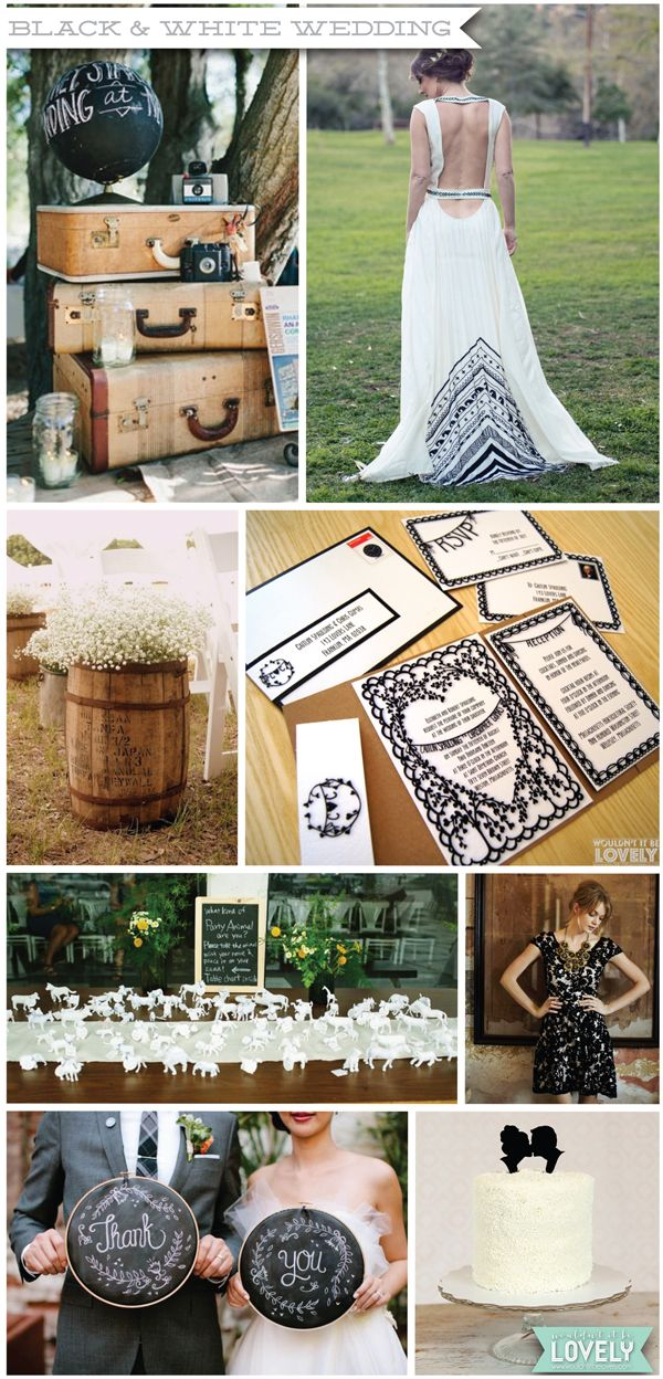 Black and white wedding color pallet, wedding inspiration, invitations, dress decor, Wouldn't it be Lovely