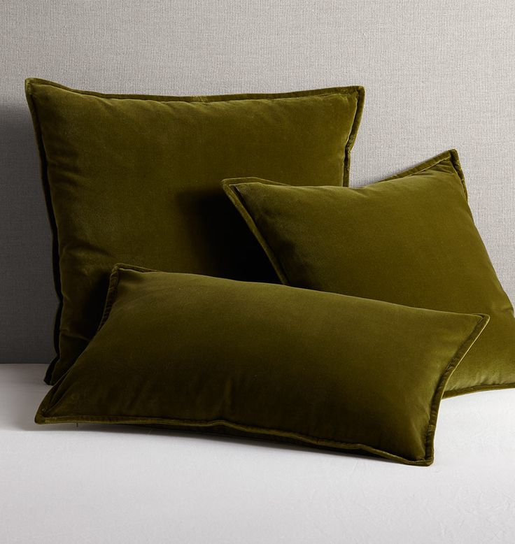 Italian Velvet Pillow Cover - Olive Green 16in. x 26in.