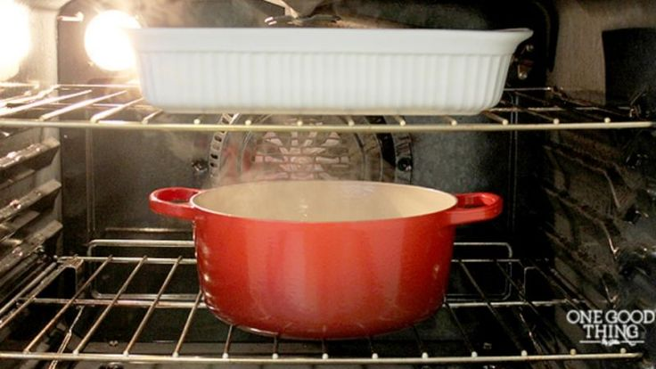 Oven grease is difficult to get rid of and needs a lot of effort. But keeping a pot of hot water and a bowl of ammonia overnight will loosen it and make cleaning easier, according to the One Good Thing By Jillee blog.