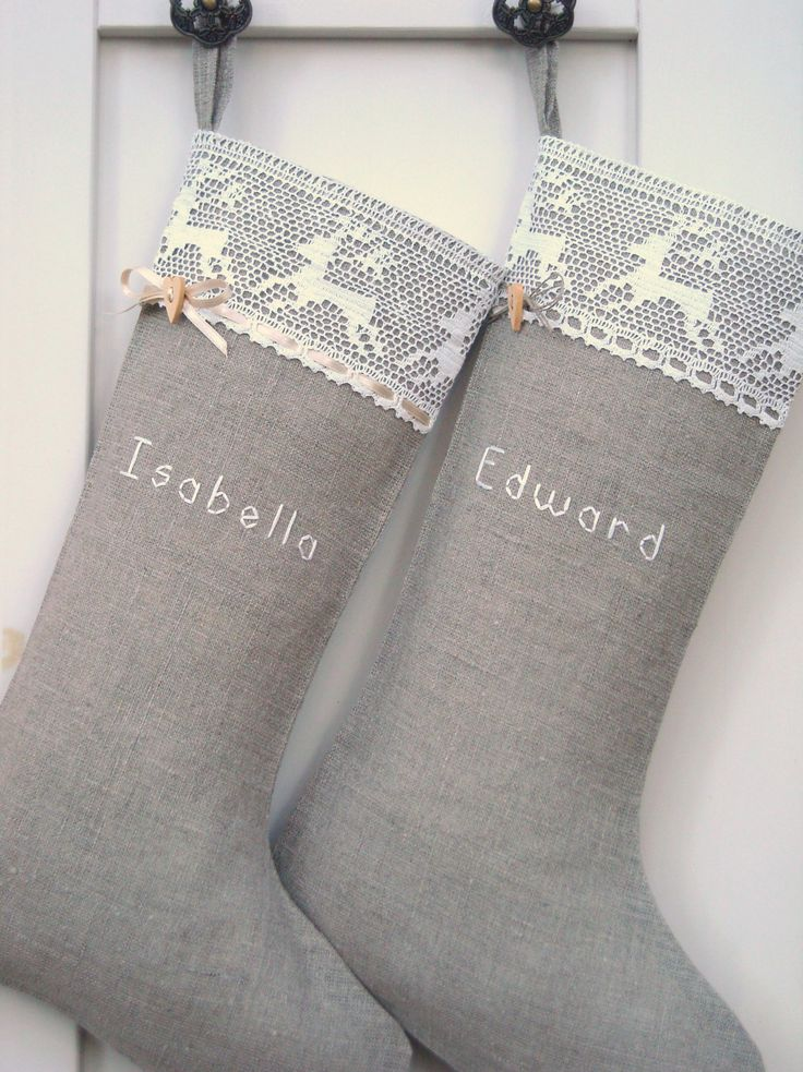 "Personalized Burlap Christmas stockings... and um, did anyone else realize that Edward and Bella are the names? Don't know if it just happened to be that way, or if the parents named them in ""honor"" of them!! :)"