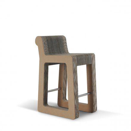 Carton Factory Seduta alta Knob Stool - profilo in mdf avana Lovepromo