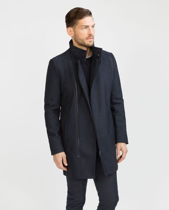 Image 1 of NAVY COAT from Zara