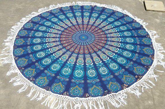 Mandala Round Roundie Beach Throw Picnic Yoga Mat Rug Tapestry Decor Table Cloth