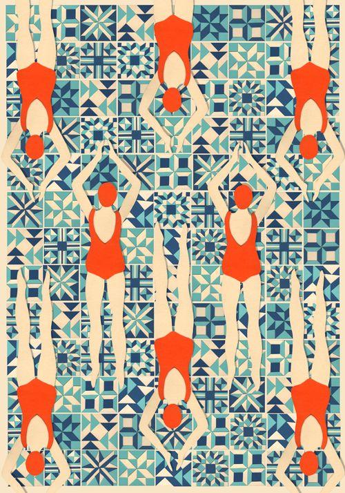 Swimmers pattern papercut by www.lou-taylor.co.uk