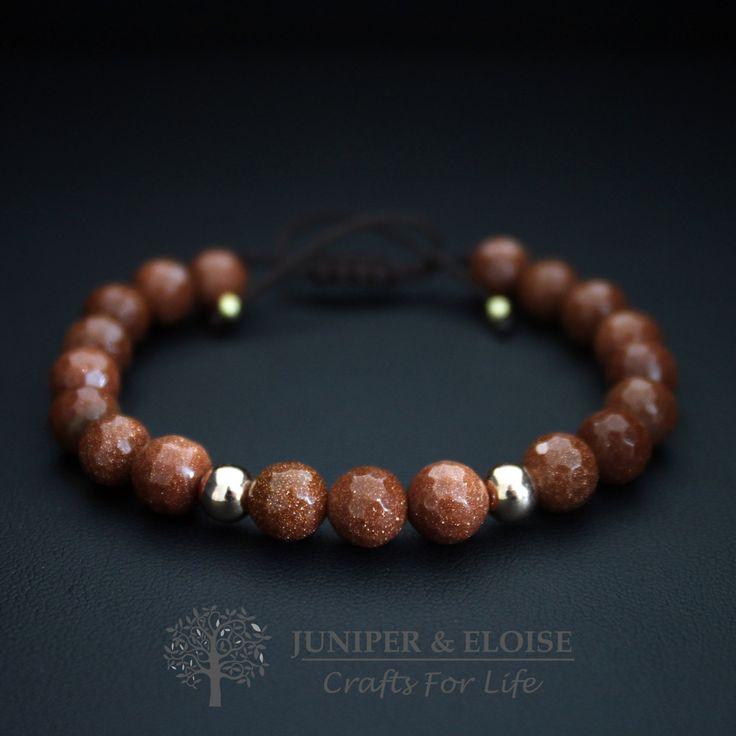 Handmade Bracelet with 8 mm Brown Aventurine Stone and 6 mm Rose Gold Beads , Adjustable Beaded Bracelet , Unisex Jewellery , gift for her by JUNIPERANDELOISE on Etsy