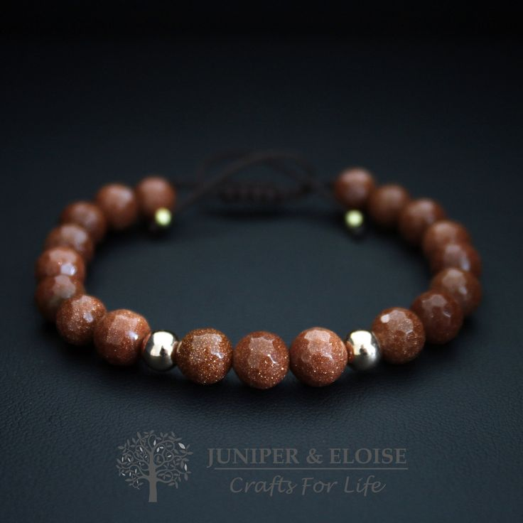 Handmade Bracelet with 8 mm Brown Aventurine Stone and 6 mm Rose Gold Beads , Adjustable Beaded Bracelet , Unisex Jewellery , gift for her by JUNIPERANDELOISE on Etsy