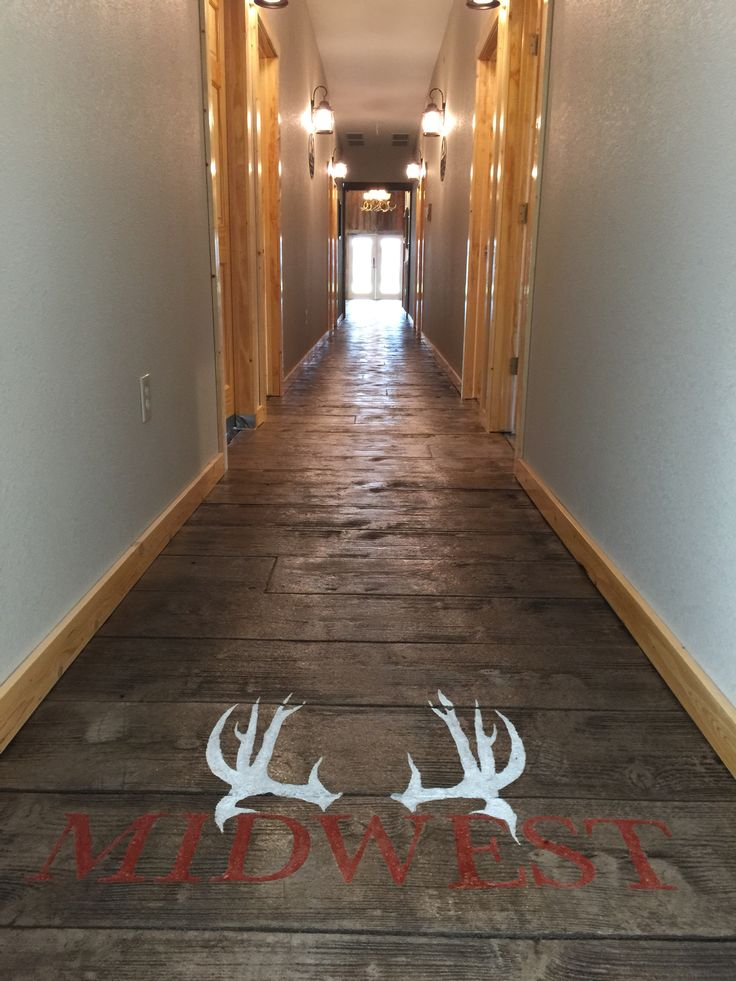 6000 sq ft of stamped and colored concrete for a whitetail outfitter lodge in Kansas by Sierra Concrete Arts.