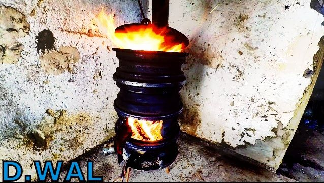 How to make Wood Stove from Car Wheels DIY