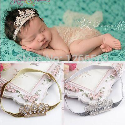 Прекрасная принцесса корона повязка на голову девочка тиара повязка на голову эластичный диапазон волос, Новорожденный малыш фото опору аксессуары для волос