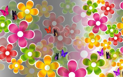 Multicolored daisies and butterflies wallpaper