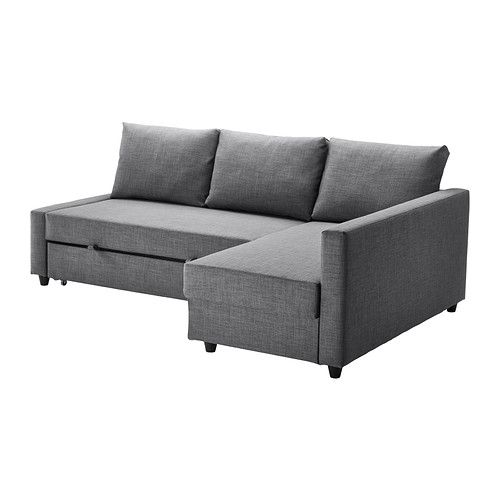 IKEA - FRIHETEN, Corner sofa-bed with storage, Skiftebo dark grey, , This sofa converts quickly and easily into a spacious bed when you remove the back cushions and pull out the underframe.Sofa, chaise longue and double bed in one.Storage space under the chaise longue. The lid stays open so you can safely and easily take things in and out.You can place the chaise longue section to the left or right of the sofa, and switch whenever you like.
