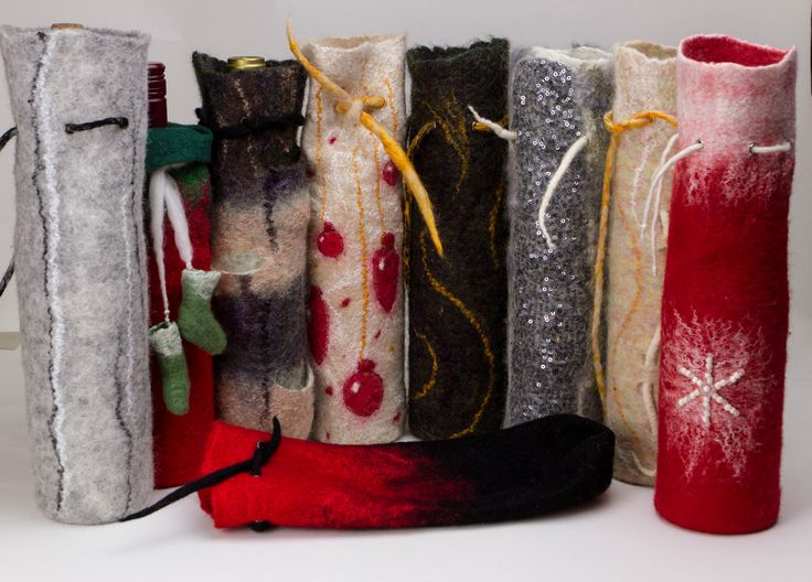 Felted Wine Totes Christmas