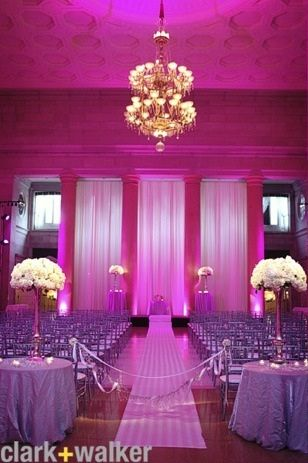 Fabulous setup at this #pink #uplighting #wedding #reception! by @cwstudio