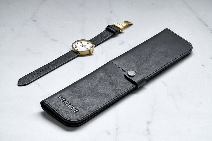 Bravur BW102 wrist watch with gold plated case, applied matte black numerals. Swiss Made. ETA quartz Comes in a vegetable tanned leather case