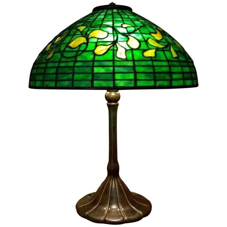 Rare Tiffany Table Lamp in Swirling Leaf Pattern | From a unique collection of antique and modern table lamps at https://www.1stdibs.com/furniture/lighting/table-lamps/