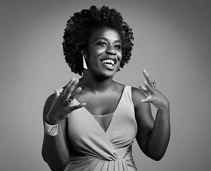 """""""There was a line in the script describing her stare as being 'childlike, except children aren't scary,' and that informed the way Crazy Eyes allows her eyes to light up for certain people. She's also a bit of a nail-biter."""" — Orange is the New Black's Uzo Aduba"""