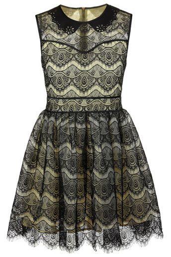 Black Yellow Sleeveless Zipper Embroidery Flare Lace Dress US$60.33