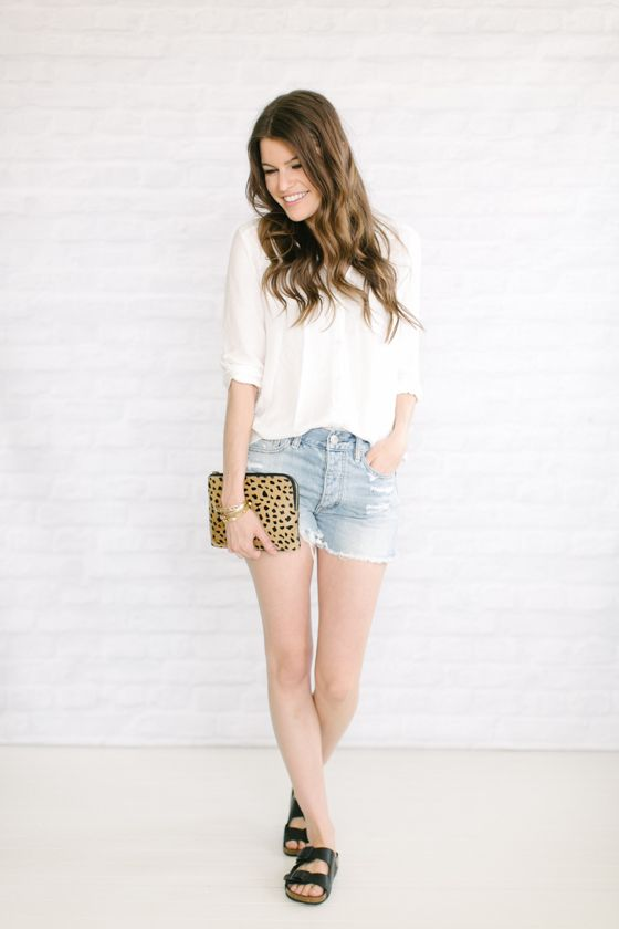 white button up   jean cutoffs   birkenstocks | Classy and simple outfit with a pop of leopard print!