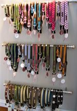 curtain rods- perfect for that collar collection you have lying around. Oooh I need to do this.