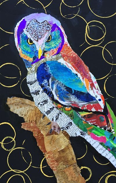 Owl torn paper collage