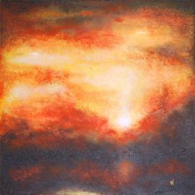 GOLDEN SUNSET - LARGE SQUARED ORIGINAL HANDMADE  ABSTRACT LANDSCAPE MODERN URBAN ART OFFICE ART DECOR HOME GIFT IDEA - FRAMED by VANADA