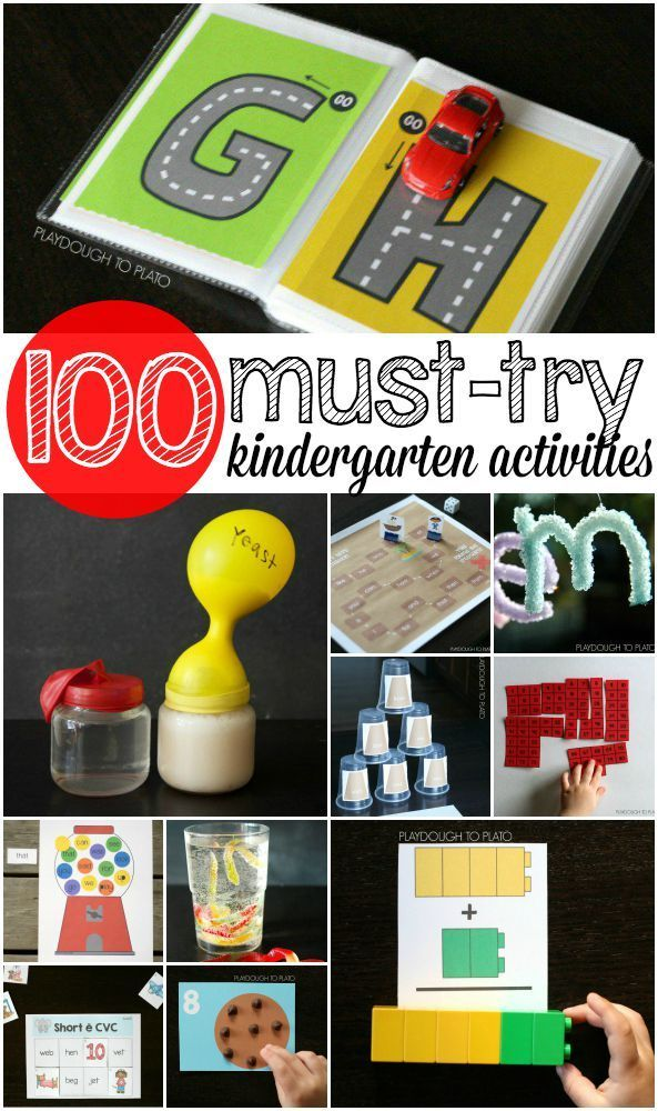 100+ Kindergarten Activities. Math games, science projects, free printables, sight word games... tons and tons of ideas!