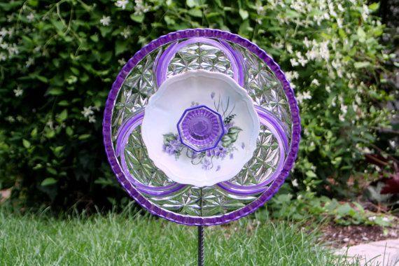 Garden Art Sun Catcher Glass Plate Flower Garden Sculpture via Etsy