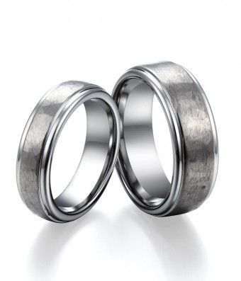 Brushed and Polished Tungsten Engagement Ring Set for Couple / Lovers