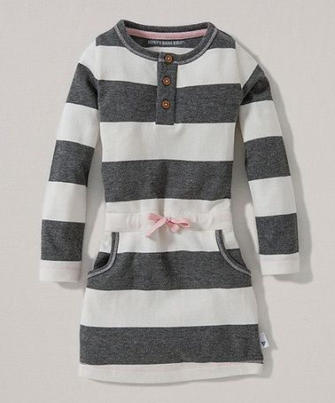 Love this Ivory Rugby Stripe Organic Henley Dress - Toddler by Burt's Bees Baby on #zulily! #zulilyfinds