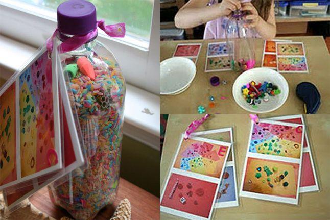"""I Spy"" Rainbow Bottle - http://www.pbs.org/parents/crafts-for-kids/eye-spy-rainbow-bottle/"