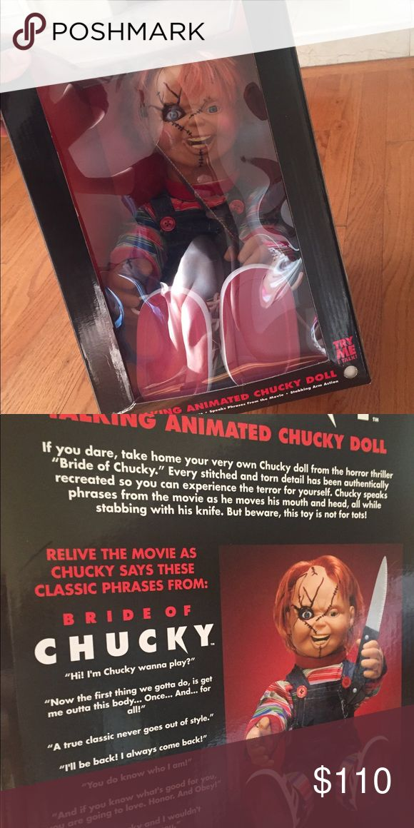 New Talking Chucky Doll New in box New authentic Chucky Doll Talking new in box. No damages no stain . I ship same or next day . Smoke and pet free home Costumes Halloween