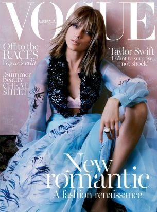 Taylor Swift covers Vogue Australia's November 2015 issue wearing a Schiaparelli haute couture dress.