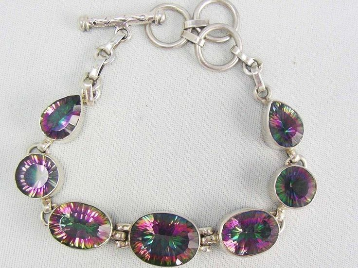 Genuine Sterling Silver Rainbow MYSTIC QUARTZ Oval Faceted Link Bracelet ~Gypsy~