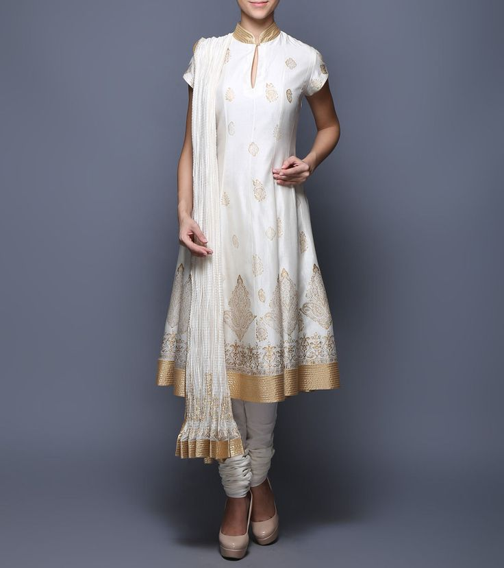 #White Block Printed #Chanderi & #Voile #Anarkali #Suit from #Balance By #Rohit #Bal at #Indianroots