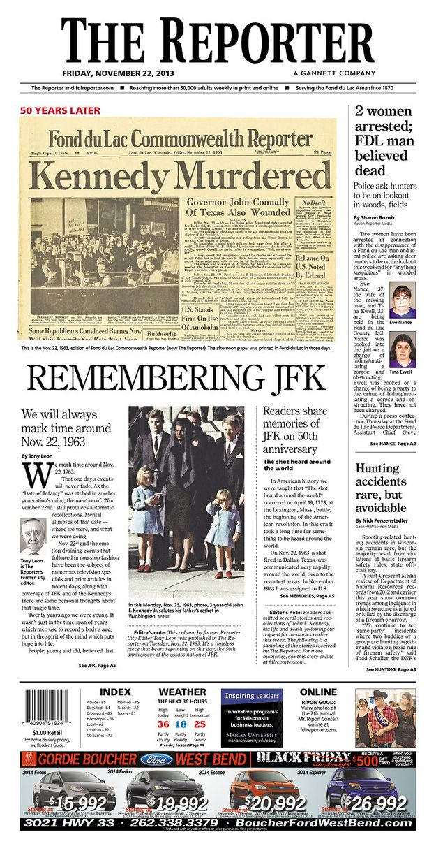 Wisconsin. | How Newspapers From All 50 States Remembered The Kennedy Assassination