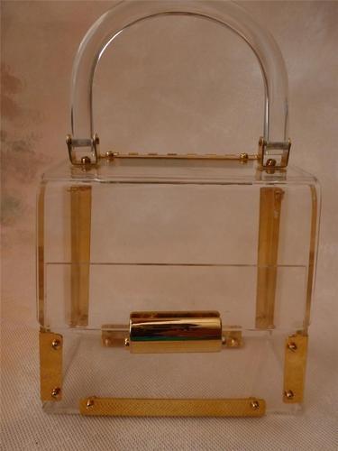 60s Clear Lucite Plastic Box Purse