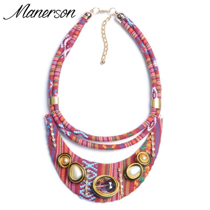 2016 New Fashion Boho ZA Necklace Pendant Bohemian Red Gem Statement Women Rope Chain Decorative Ethnic Collier Femme Jewelry