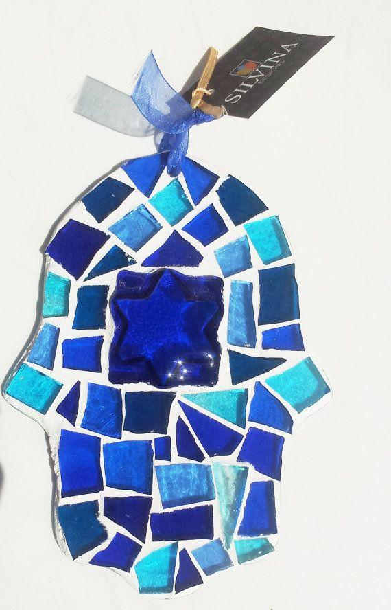 Maguen David Israel Sun catcher  Mosaic Hamsa by Silvinadesigns, $28.00