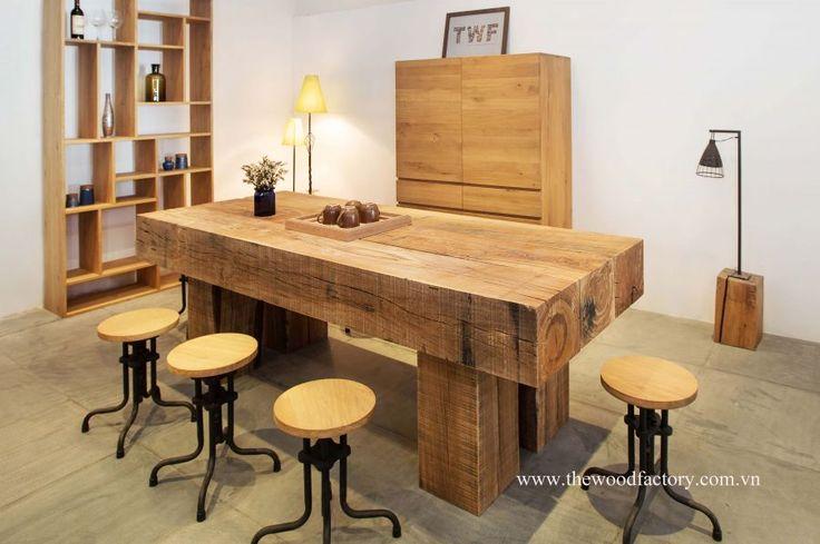 New oak railway sleeper furniture from Vietnam