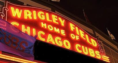 wrigley field, chicago cubs, marquee at night