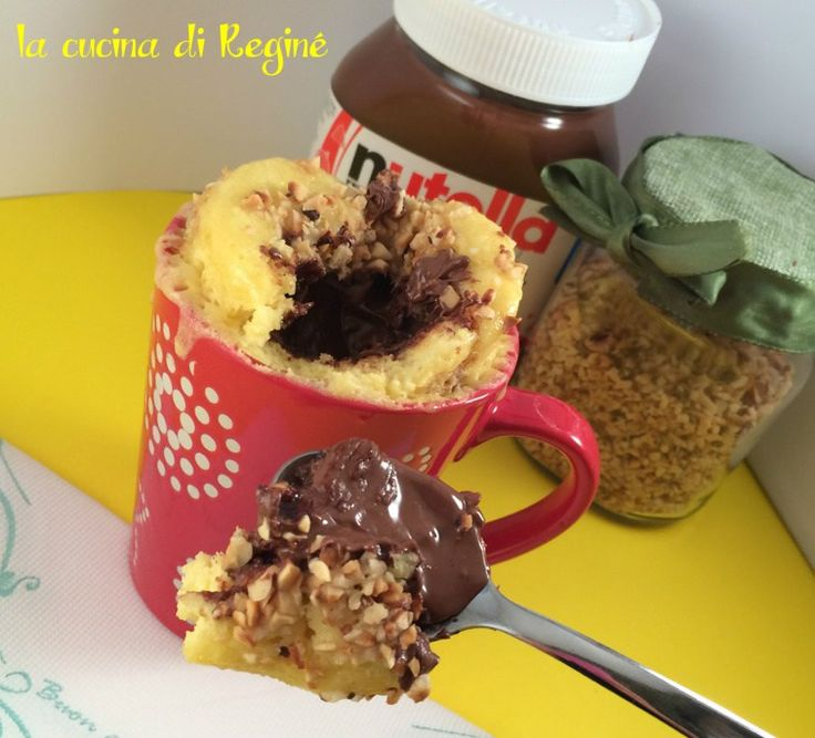Mug+cake+con+cuore+morbido+alla+nutella