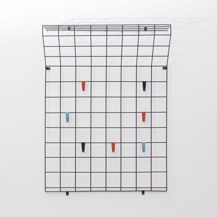 Coat wire rack with red, blue & black hangers, Dutch design 1970s
