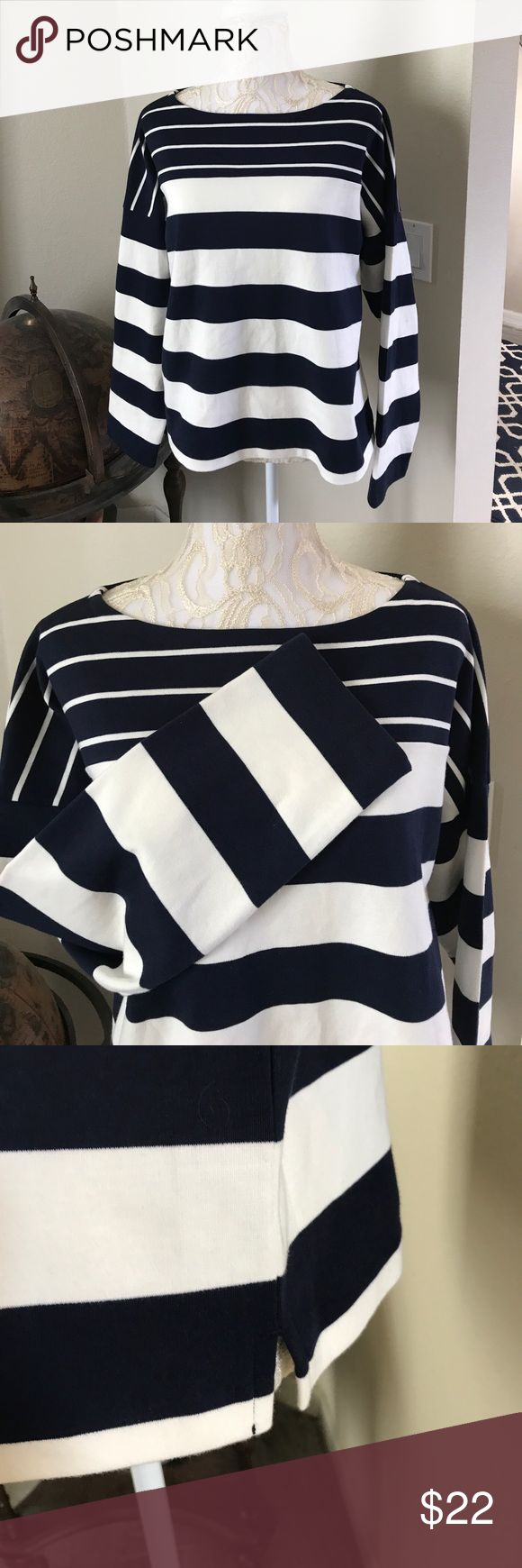 Boat Neck J. Crew Nautical Stripe Shirt This beautiful, warm shirt is perfect as a cover up for your bikini or paired with jean shorts or bermudas! Beautiful cream and navy variegated horizontal strips with straight cut sleeves and bottom. Worn once! From a smoke free home. 🍷 J. Crew Tops Sweatshirts & Hoodies