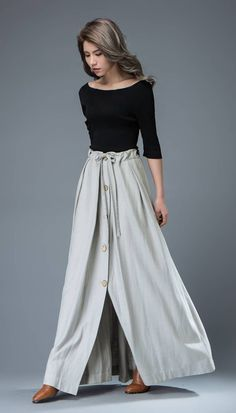 Maxi Skirt - Light Gray Linen Buttoned Long Pleated Casual Woman's Spring Summer Skirt with Drawstring Waist C824 by YL1dress on Etsy https://www.etsy.com/listing/271394698/maxi-skirt-light-gray-linen-buttoned
