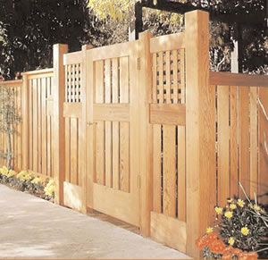 Fence gate with space between long slatsGardens Ideas, Privacy Fence, Craftsman Fence, Redwood Fence, Fence Gates, Craftsman Style, Backyards Ideas, Wooden Fence Ideas, Fence Design