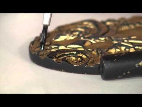 Aprenda a fazer um lindo colar de cerâmica plástica com textura de folha de ouro! - YouTube