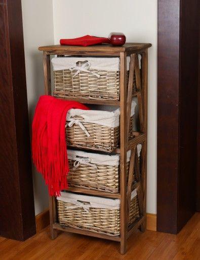 Cômoda 4 cestas Encantada - Marrom - Wood Prime